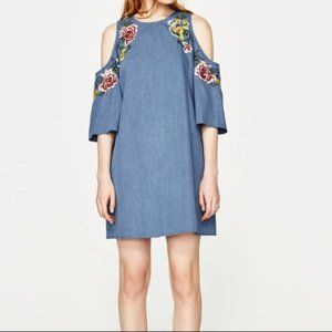 Zara Chambray Embroidered Cold Shoulder Dress